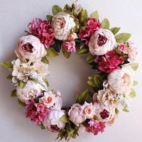 造花リース シルクフラワー アートフラワー ピオニー 芍薬 フラワーデコレーション ウェルカムボード ドアデコレーション ウェディング パーティー