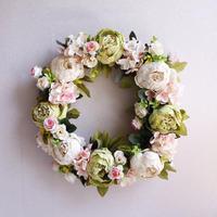 素敵な造花のフラワーリース ハイドランジア あじさい  シルクフラワー アートフラワー  ブライダル・ウェルカムボードやドアデコレーションに