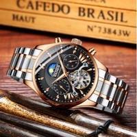HAIQIN メンズ腕時計 機械式 自動巻き トゥールビヨン ムーンフェイズ クロノグラフ 自動日付 防水 発光 高級腕時計