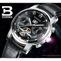 BINGER メンズ腕時計 機械式 自動巻き 防水 自動日付 トゥールビヨン クロノグラフ 高級腕時計