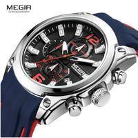MEGIR メンズ腕時計 クォーツ クロノグラフ 自動日付 防水 発光 海外ブランド