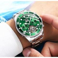 GUANQIN メンズ腕時計 機械式 自動巻き スケルトン トゥールビヨン 自動日付 防水