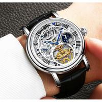 BINGER メンズ腕時計 機械式 自動巻き トゥールビヨン ムーンフェイズ 防水