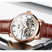 HAIQIN メンズ腕時計 機械式 自動巻き ダブルトゥールビヨン クロノグラフ 自動日付 防水 発光針 海外限定品