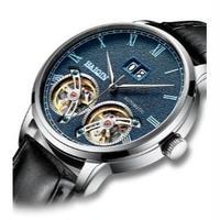 HAIQIN メンズ腕時計 機械式 自動巻き ダブルトゥールビヨン クロノグラフ 自動日付 防水 発光針 日本未発売