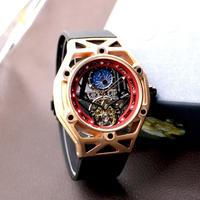 OUYAWEI メンズ腕時計 機械式 自動巻き トゥールビヨン ムーンフェイズ スケルトン 海外ブランド