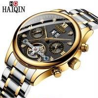 HAIQIN メンズ腕時計 機械式 自動巻き トゥールビヨン 自動日付 防水 高級腕時計
