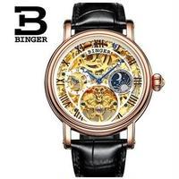 BINGER メンズ腕時計トゥールビヨン 機械式 スケルトン 海外ブランド