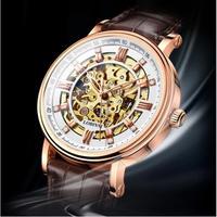 LOBINNI メンズ腕時計 機械式 自動巻き トゥールビヨン スケルトン 防水 発光針 高級腕時計