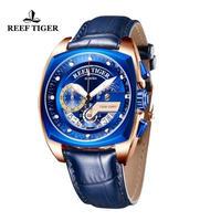 Reef Tiger メンズ腕時計 クォーツ クロノグラフ 自動日付 防水 発光 高級腕時計 トップブランド