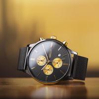 BAOGELA メンズ腕時計 クォーツ クロノグラフ 自動日付 防水 高級腕時計