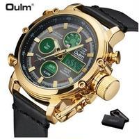 Oulm メンズ腕時計 海外ブランド 海外輸入品 デュアルタイム デジタル カレンダー アラーム 防水