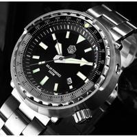 San Martin メンズ腕時計 クォーツ 自動日付 防水 発光針
