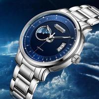 LOBINNI メンズ腕時計 機械式 自動巻き 自動日付 防水 ワールドマップ 高級腕時計