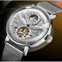 BINGER メンズ腕時計 機械式 自動巻き スケルトン ムーンフェイズ  防水