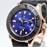 PETERLEE メンズ腕時計 機械式 自動日付 海外ブランド カジュアル レザー