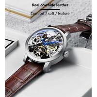 AILANG メンズ腕時計 機械式 自動巻き トュールビヨン スケルトン 防水 発光 高級腕時計