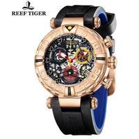 Reef Tiger メンズ腕時計 クォーツ クロノグラフ スケルトン 自動日付 防水