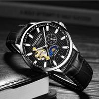 GUANQIN メンズ腕時計 機械式 自動巻き トゥールビヨン ムーンフェイズ 防水 発光 高級腕時計