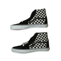 "LATE 90'S DEAD STOCK VANS ""SK8-HI"" BLACK / BLACK WHITE CHECKERBORAD"