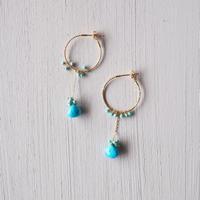 【K18】スリーピングビューティーターコイズ+ターコイズのピアス/Sleeping beauty turquoise + turquoise  earrings