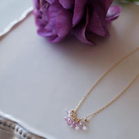 【K18】非加熱ピンクサファイアのグラデーションネックレス/Untreated Pink sapphire gradation necklace