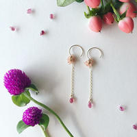 【14kgf】【9月誕生石】インカローズのざくろピアス 【September birthstone】 Inca Rose of pomegranate earrings