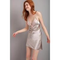 シルクスリップドレス(カップ付き)シルバーグレー