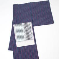 会津木綿 きもの 八重(青紫/ ピンク 縞) レディース お仕立て込み