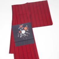 会津木綿 きもの 縞 紅 レディース お仕立て込み