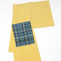 会津木綿 きもの 縞 黄色 レディース お仕立て込み