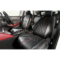 "Premium Fit Sheet Cover for MAZDA CX-3 ""Black Leather × Red Stitch"""