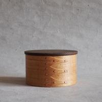 フナハシトモハル 曲げ木の木箱Φ93・蓋鉄媒染 FUNA-57
