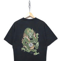 """90's OLD STUSSY """"Dragon"""" プリント Tシャツ BLACK 紺タグ USA製"""