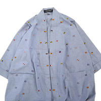 90's~ NAUTICA フラッグ総柄 シャンブレー シャツ コート