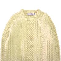70's~80's Joseph F Heron Wool Alan Sweater Ivory IRELAND製