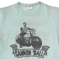 "80's~ Harley Davidson ""CANNON BALL"" 両面 染み込みプリント Tシャツ USA製"