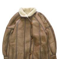 """""""Unisex"""" Fake Mouton """"Shawl Collar"""" Boa Long Jacket BROWN"""