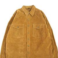 ~90's EURO スウェード レザー シャツ ジャケット CAMEL 50サイズ