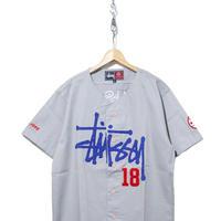 "90's OLD STUSSY Baseball Shirt ""STUSSY 18"" GREY Lサイズ"