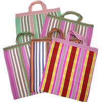 """NEW"" Ethnic Random-Stripe Mesh Tote Bag"