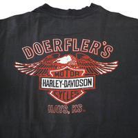 "80's Hanes Harley Davidson ""DOERFLER'S"" 両面 プリント Tシャツ USA製"