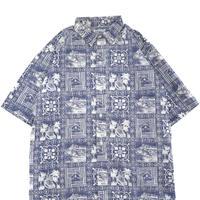 90's Reyn Spooner 総柄 アロハシャツ Blue×White
