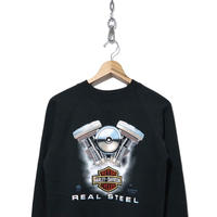 "80's HARLEY DAVIDSON 3D プリント スウェット BLACK ""REAL STEEL"""