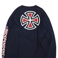 """00's INDEPENDENT """"IRON CROSS"""" プリント ロングスリーブ Tシャツ NAVY"""