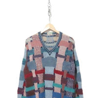 80's~ Multi Color V-neck Hand Knit Wool Sweater