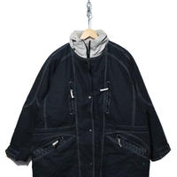 90's FOXLAND ロングダウンジャケット BLACK×GREY Lサイズ