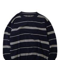 80's~90's BROOKS BROTHERS Wool Border Knit Navy ENGLAND製