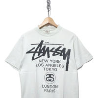 "90's OLD STUSSY ""WORLD TOUR"" プリント Tシャツ 白タグ USA製"