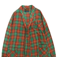 70's~80's レーヨン オンブレ チェック ロング ガウンシャツ Mサイズ